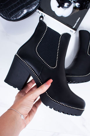 FAITH Black Faux Leather Stud Heeled Ankle Boots