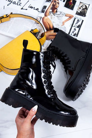 MARIANA Black High Shine Chunky Platform Lace Up Ankle Boots