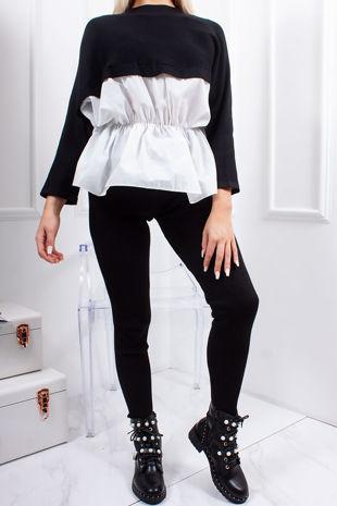 RONI Black Ribbed Shirt Detail Co-Ord Lounge Set