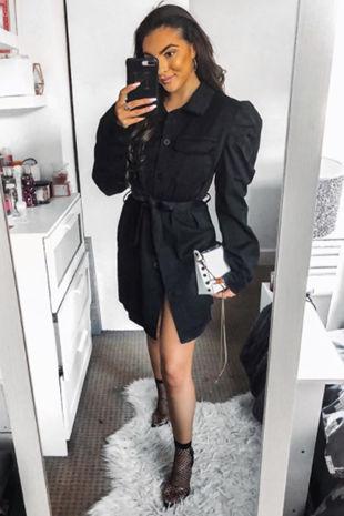 AMELIA Black Puff Sleeve Belted Shacket Dress