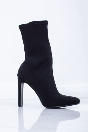 NOVA Black Lycra Slim Block Heel Boots