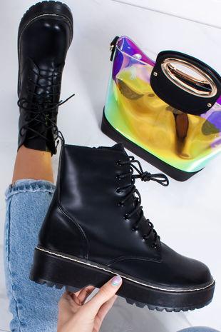 SOFIA Black Matte Chunky Platform Lace Up Ankle Boots