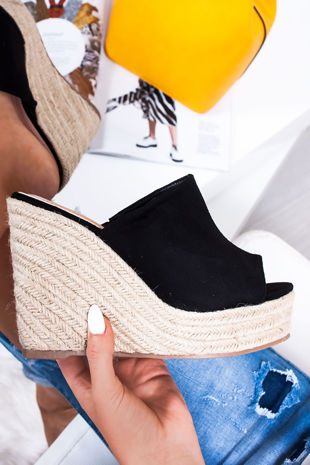POPPY Black Faux Suede Mule Wedges