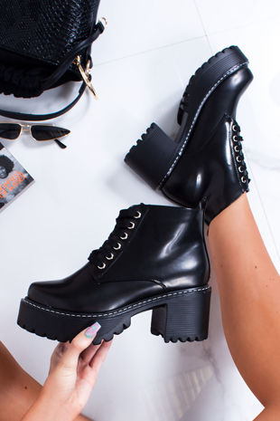ARIANA Black High Shine Lace Up Chunky Ankle Boots