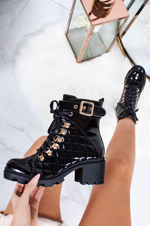 LEIA Black Patent Buckle Strap Quilted Heeled Boots