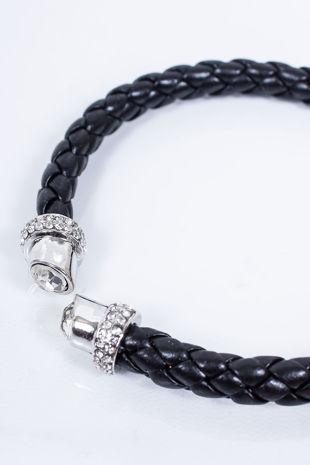 TAYLOR Black Plaited Diamante Bracelet