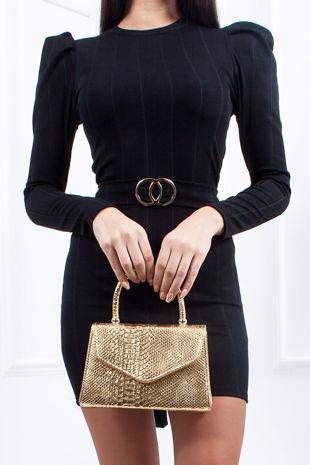 MEGAN Black Ribbed Ring Detail Tie Back Bodycon Dress
