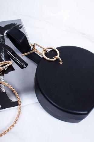 SKYLAR Black Faux Leather Round Bag