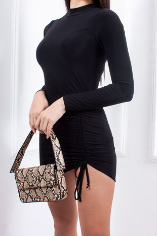 FAITH Black Ruched Tie Side High Neck Bodycon Dress