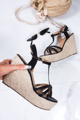 REMI Black T-Bar Strap Espadrille Wedges