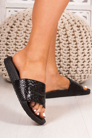 FIFI Black Croc Print Metallic Strap Sliders