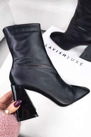 IRIS Black Faux Leather Flared Block Heel Boots
