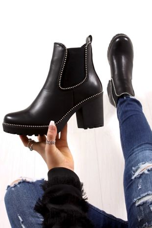 HARLEY Black Faux Leather Stud Heeled Ankle Boots