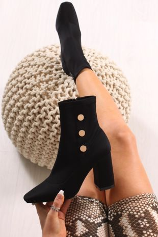 KIARA Black Lycra Gold Button Heeled Ankle Boots