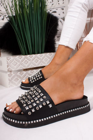 FINLEY Black Stud Diamante Chunky Sliders