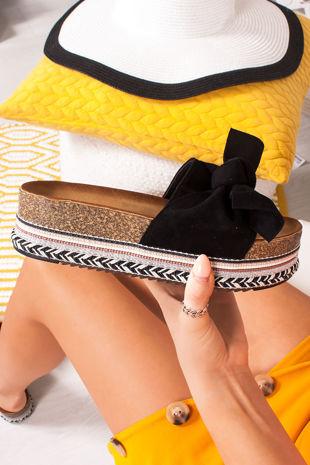 NORELLE Black Bow Aztec Flatform Sandals