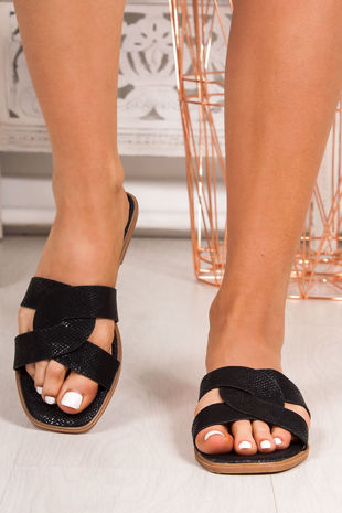 SOPHIE Black Twist Strap Sandals
