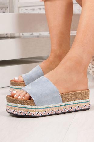 PETRA Blue Strap Aztec Flatform Sandals