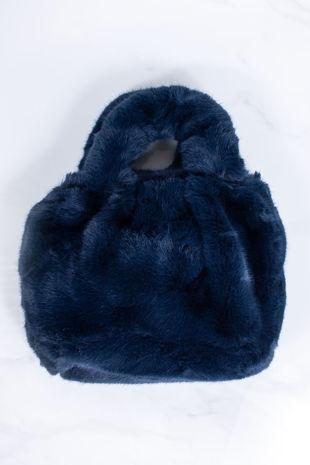 ARYA Blue Faux Fur Handbag