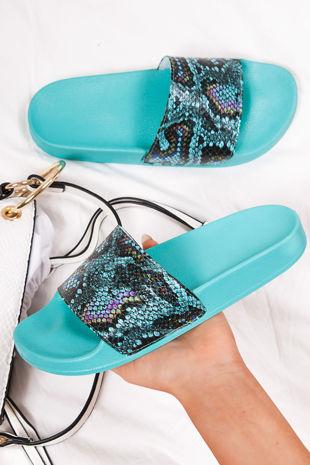 JOLIE Turquoise Snake Print Strap Sliders