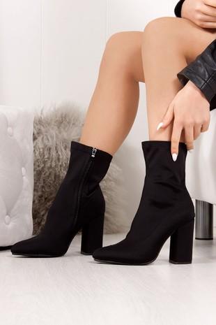 CORA Black Lycra Block Heel Ankle Boots