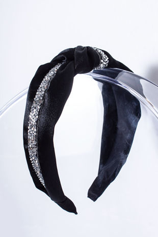 EMMA Black Diamante Knot Headband