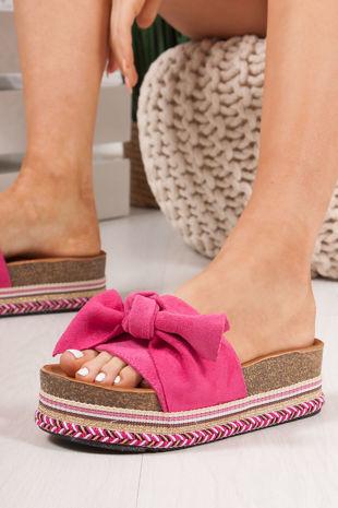 NORELLE Fuschia Bow Aztec Flatform Sandals