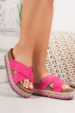 ROXIE Fuchsia Cross Strap Aztec Flatform Sandals