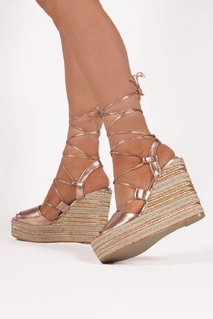 GISELLE Rose Gold Wrap Up Espadrille Wedges