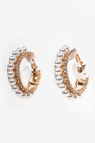 DAWN Gold Pearl And Diamante Hoop Earrings