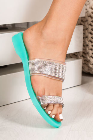 BETHANY Green Diamante Strap Jelly Sandals