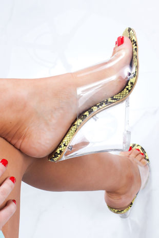 MAI Yellow Snake Clear Wedge Mules