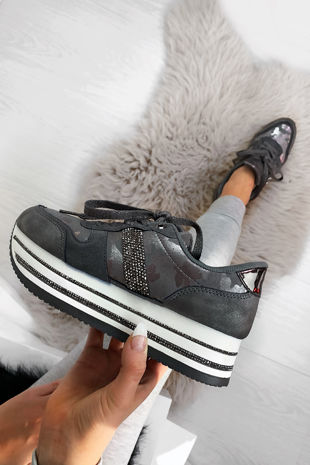 NARLA Grey Diamante Velvet Faux Suede Chunky Trainers
