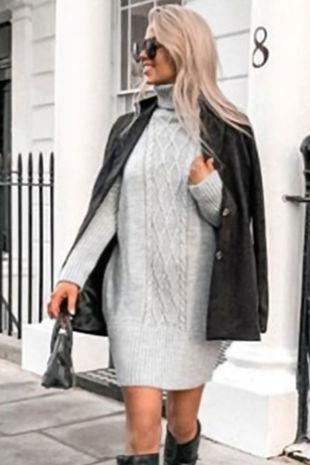 NANCY Grey Roll Neck Cable Knit Jumper Dress