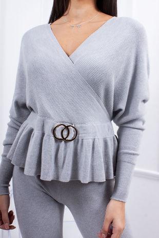 ANDI Grey Wrap Ring Detail Co-Ord Lounge Set