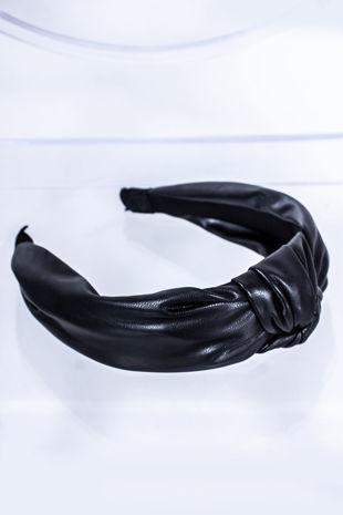 HALLIE Black Leather Knot Headband