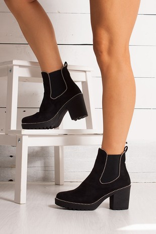HARLEY Black Suede Stud Heeled Ankle Boots