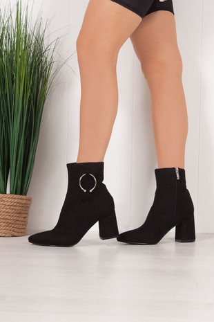 HAZEL Black Faux Suede Ring Detail Pointed Toe Ankle Boots