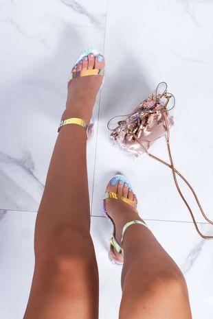JESSIE Holographic Clear Flat Block Heels