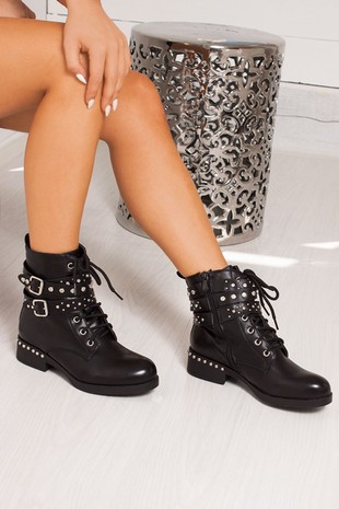 HOPE Black Studded Buckle Strap Ankle Boots