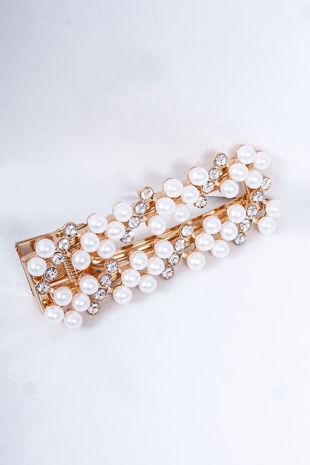 INDIA Gold Pearl Diamante Square Hair Slide
