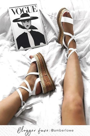 INDIGO White Wrap Up Espadrille Flatforms