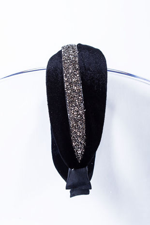 IZZY Black Velvet Diamante Knot Headband