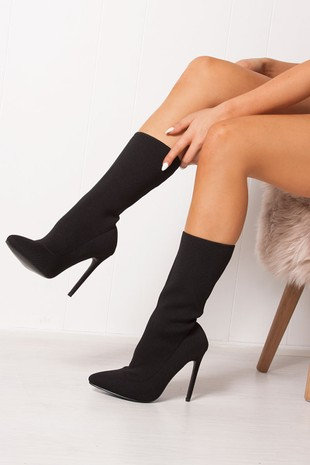 KADY Black Ribbed Stiletto Heel Boots