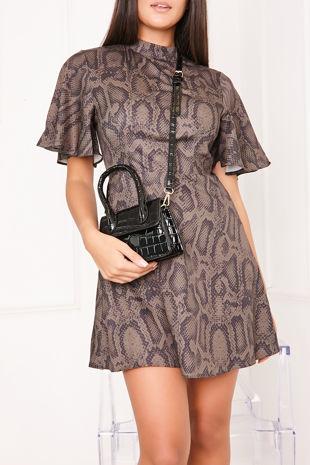 ALMA Khaki Snake Print High Neck Skater Dress