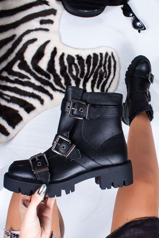 BROOKE Black Buckle Strap Chunky Ankle Boots