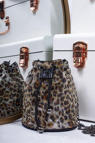 RILEY Leopard Diamante Bucket Bag
