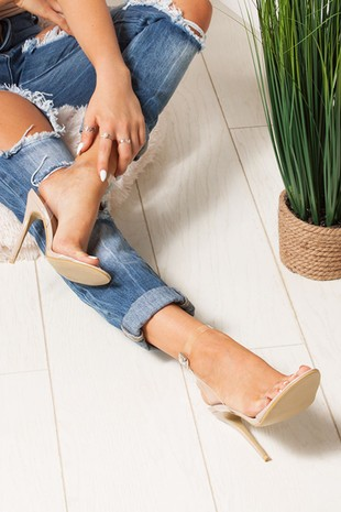LILA Nude Clear Strap Barely There Heels