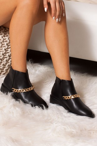 LOTTIE Black Ankle Boots With Gold Chain Detail
