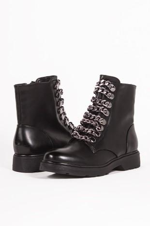 MAYA Black Chunky Biker Boots With Chain Detail